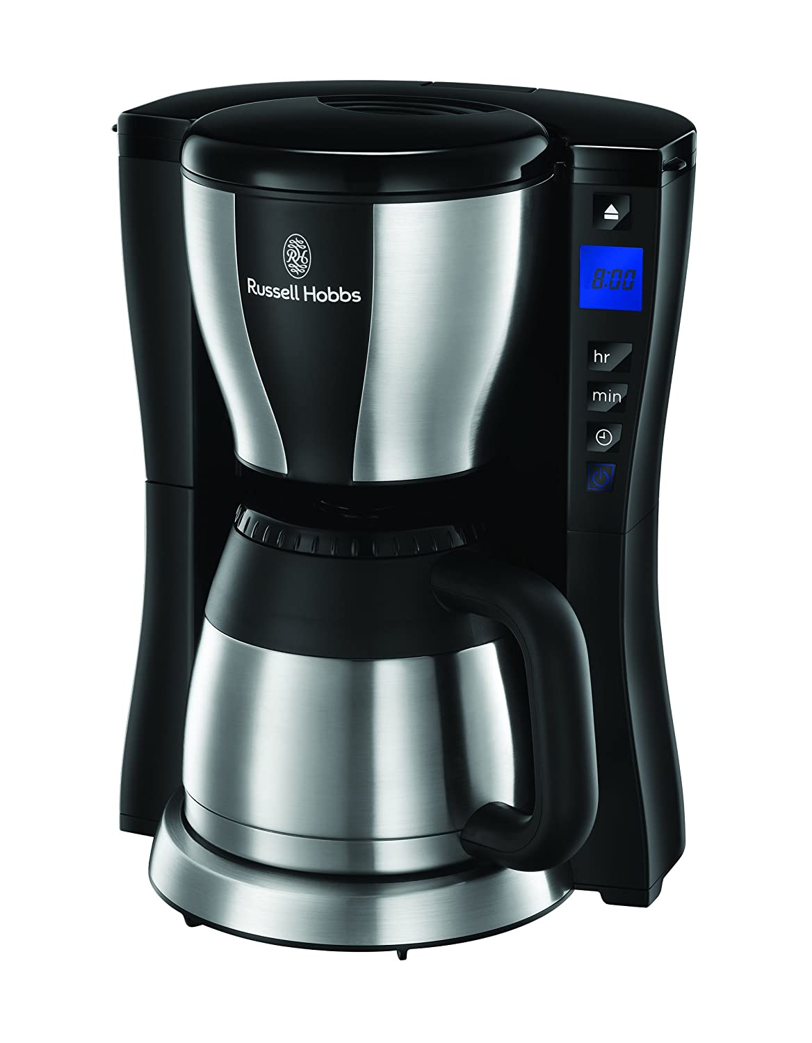 Russell Hobbs Fast Brew Cafetera, Temporizador Programable, 1200 W, 1 Liter, Negro, Acero inoxidable
