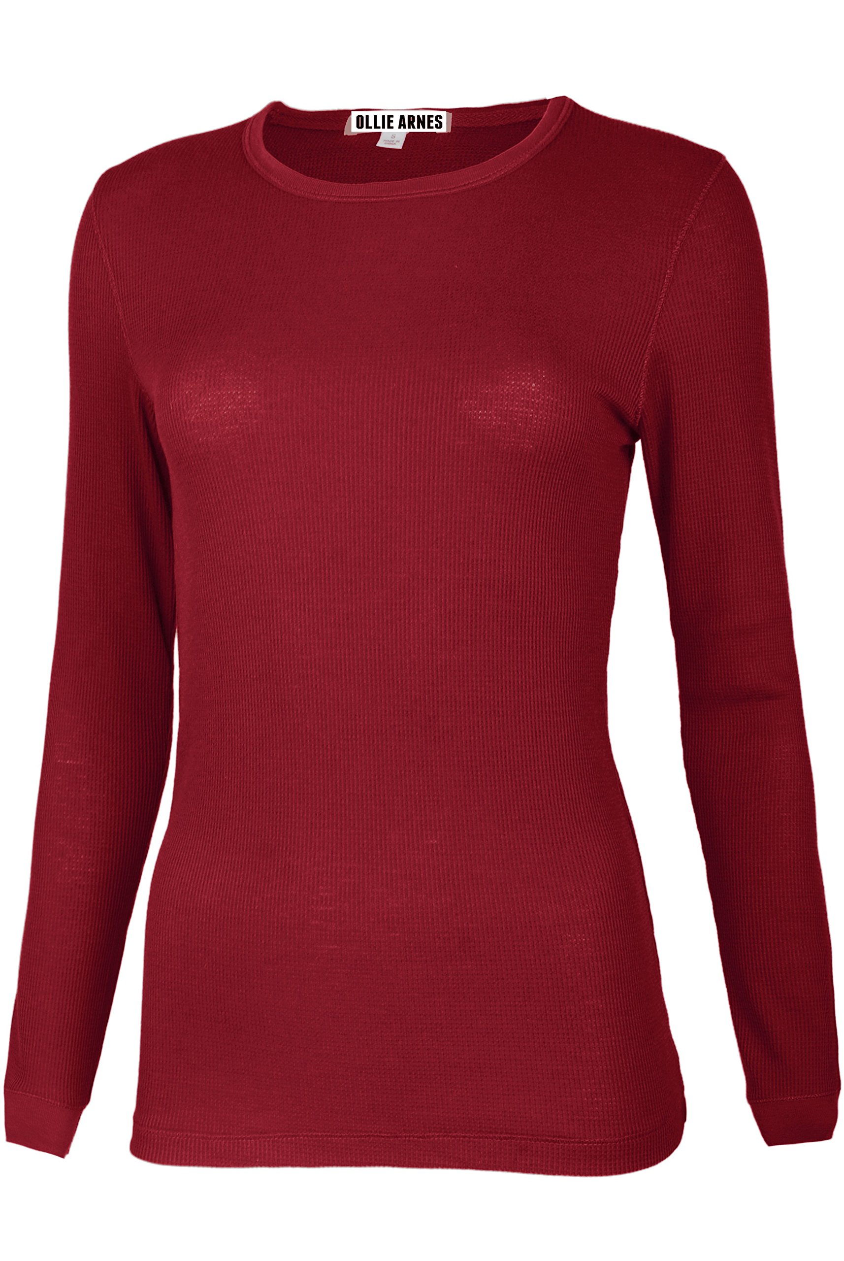 Ollie Arnes Women's Round Neck Fitted Long Sleeve Cool Sweater Shirt Top 99_BURGUNDY 1X
