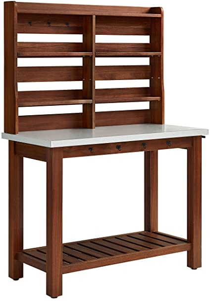 Crosley Furniture KF43001EU Mesa Indoor / Outdoor Island Buffet With Zinc  Top And Hutch   Eucalyptus