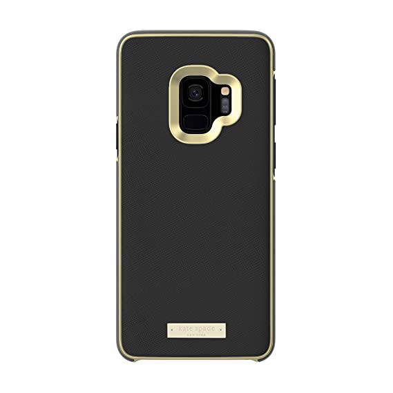 official photos d5a43 4884f kate spade new york Wrap Case for Samsung Galaxy S9 - Black Saffiano Black  / Gold Logo Plate