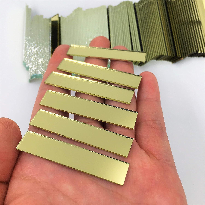 Lot de 100 carreaux de mosa/ïque rectangulaires de 9,5 x 5,1 cm Dor/é