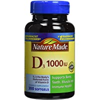 Nature Made D3, 1000 IU, Tablets, 300 ct (Pack of 3)