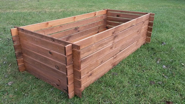 Stabiler Holzkomposter Komposter Kompostbehälter imprägniert Hochbeet 170 x 85cm Naturholz-Shop