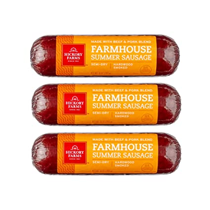 Hickory Farms Farmhouse Summer Sausage 3 Pack 10 Ounces Each Great For Snacking Entertaining Charcuterie Ready To Eat High Protein Low Carb Keto Gluten Free Premium Beef And Pork Amazon Com Grocery