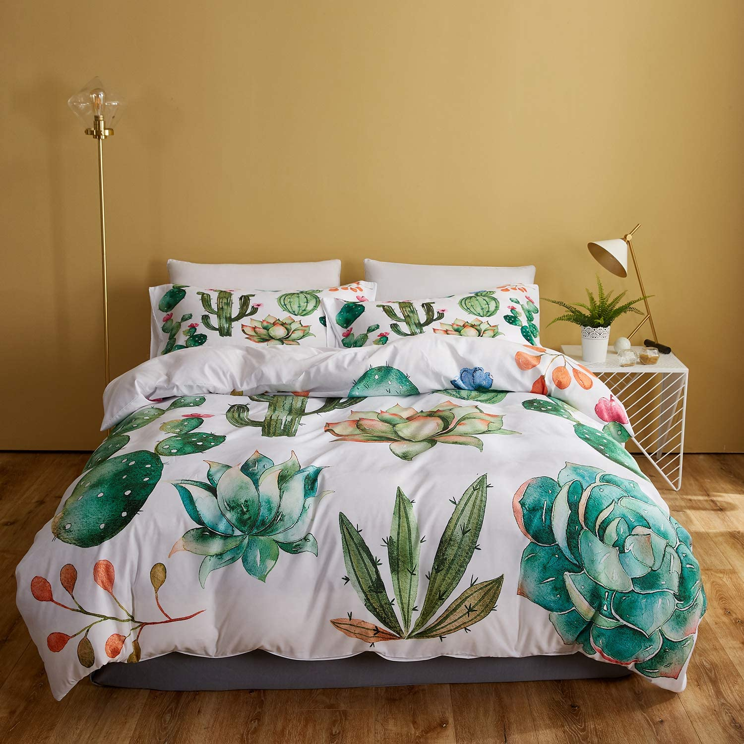 DEERHOME Cactus Duvet Cover Set,Hand Painted Watercolor Elements for Your Design with Succulent Plants,Cactus and More, Decorative 3 Piece Bedding Set with 2 Pillow Shams, Twin Size
