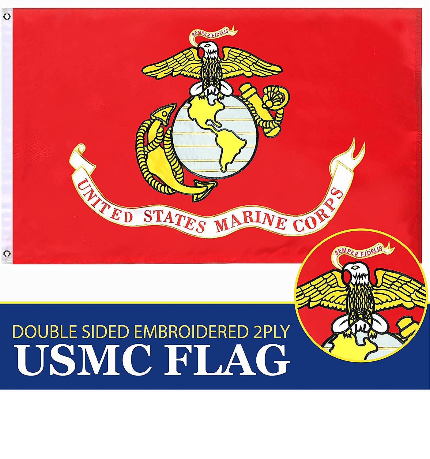 G128 USMC United States Marine Corps Flag 4x6 Ft Double Sided 2 ply Embroidered U. S. Marine Corps Military Flag Brass Grommets
