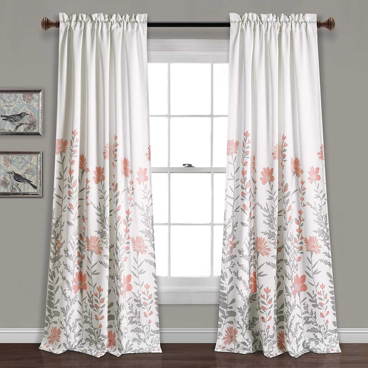"Lush Decor, Blush Aprile Room Darkening Curtains-Floral Leaf Design Window Panel Drapes Set for Living, Dining, Bedroom (Pair), 84"" x 52"""
