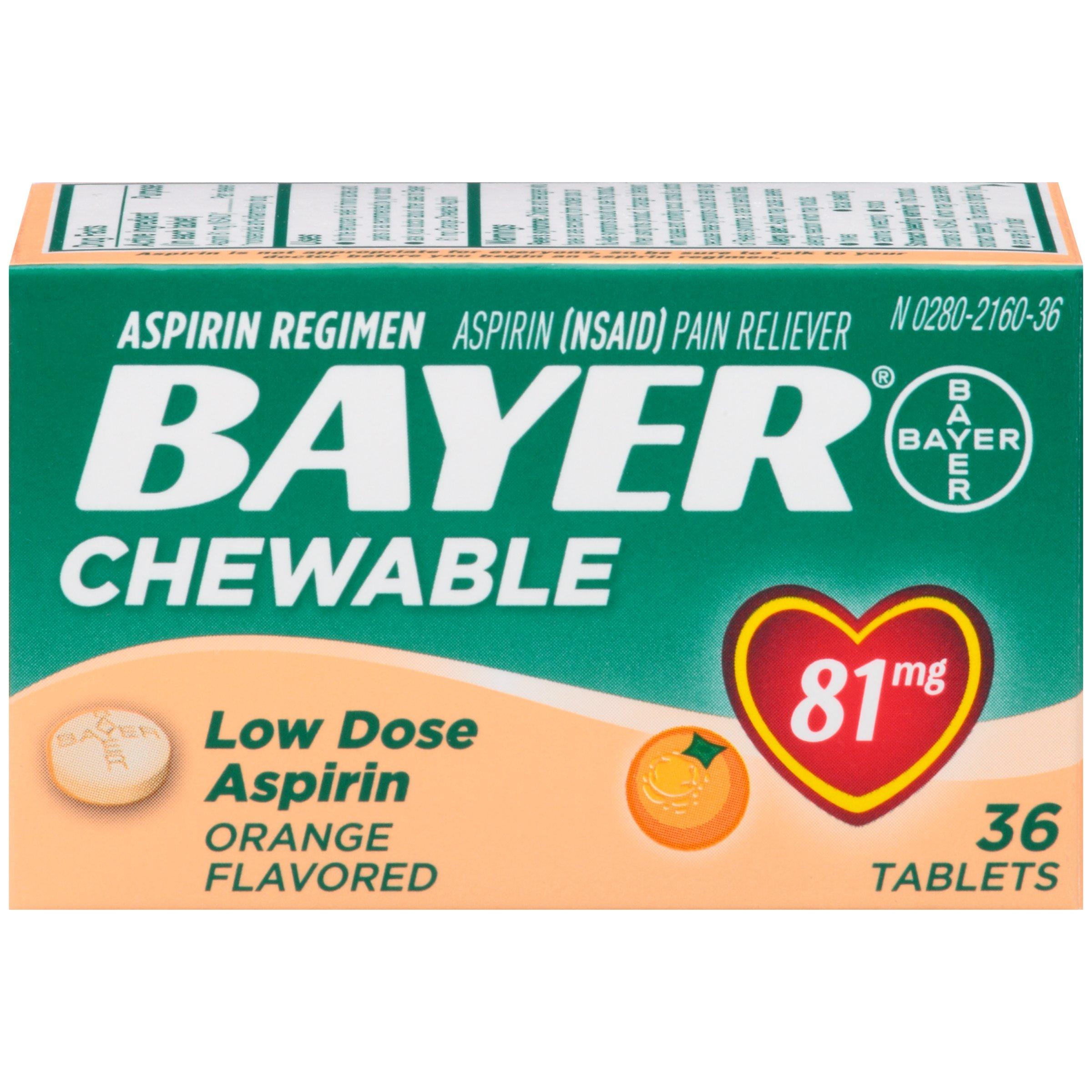 Aspirin Regimen Bayer, 81mg Chewable Tablets, Pain Reliever, Orange, 36 Count