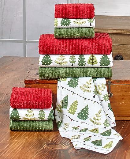 10 piezas Set de toalla/paño de Navidad – gran para Navidad regalo de y