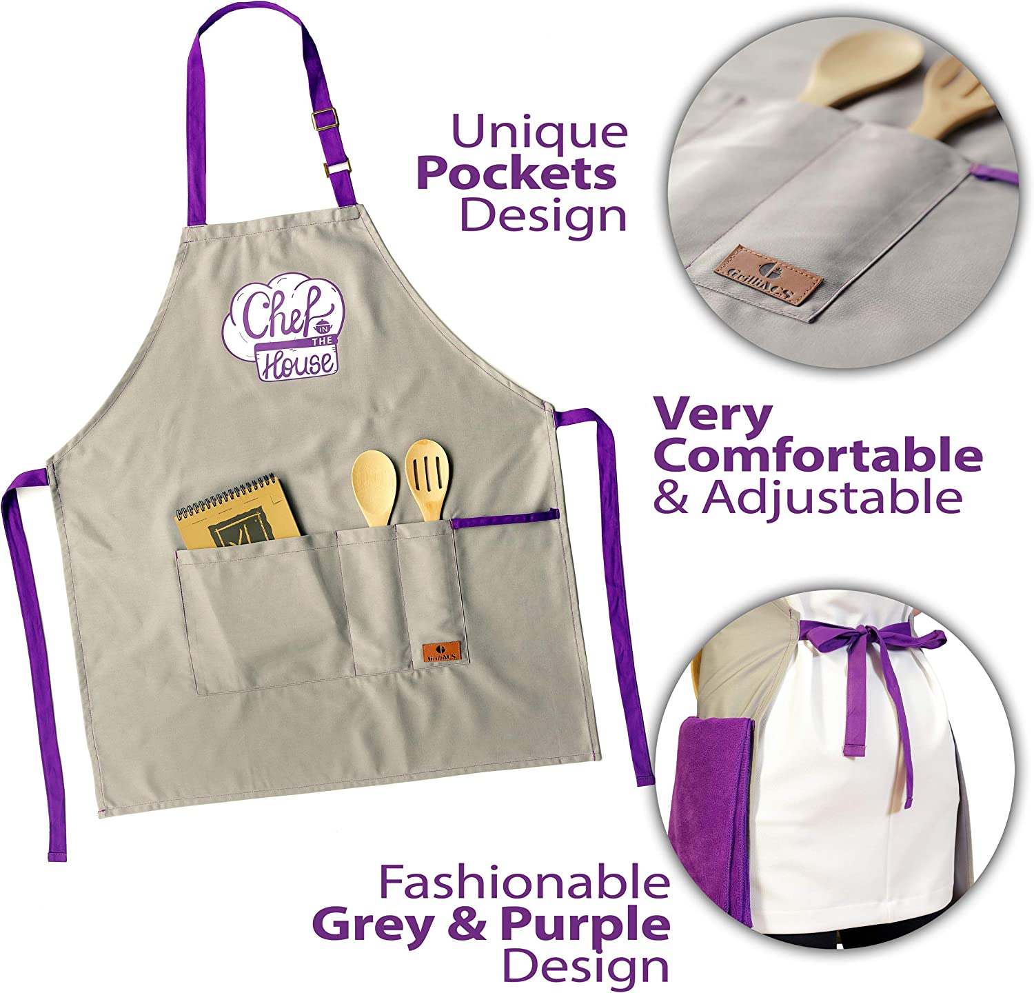 Christmas Husband GrilliACS Apron for Kitchen Chef Aprons for Women with 3 Pockets Wife Mother/'s Day Dad Birthday Purple Towel Thanksgiving Gifts for Mom Funny Cooking Aprons for Women