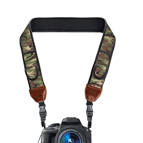 USA Gear TrueSHOT DSLR Camera Neck Strap with Neoprene Design and Quick Release Buckles - Compatible with Canon, Fujifilm, Nikon, Sony and More DSLR, Mirrorless, Instant Cameras! - Camo Green