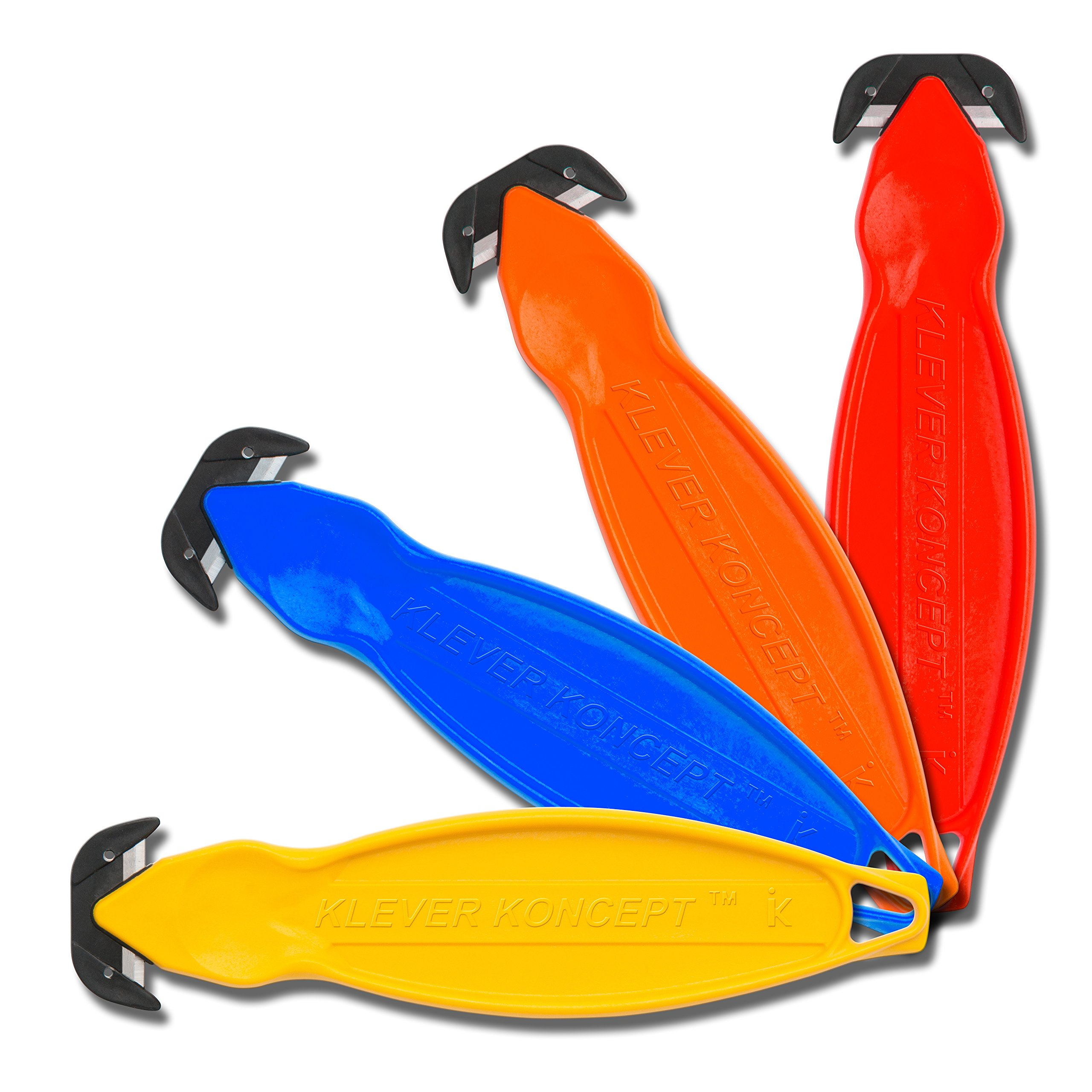 Klever Koncept Safety Cutters, Assorted Colors, Pack Of 50