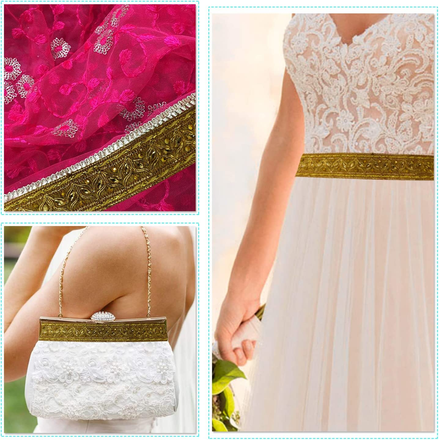 DIY Projects 1 Meter Designer Wear 12mm wide Weddecor Rich Embroidery Trim Embellishing Lace For Wedding Gowns Bronze