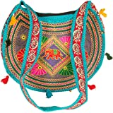 Hippie Sling Handmade Crossbody Bag Boho Chic Patchwork Embroidered Shoulder Purse Gypsy Blue