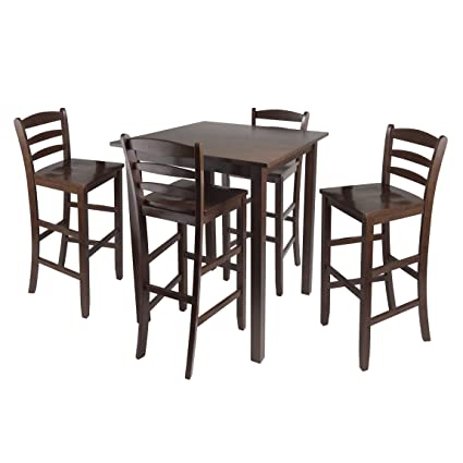 Winsome Parkland High Table With 29 Inch Ladder Back Stools, 5 Piece
