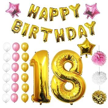 BELLE VOUS Globos Cumpleaños Happy Birthday, Suministros y Decoración - Edad 18 Globo Grande de Aluminio - Decoración Globos De Látex Dorado, Blanco y ...