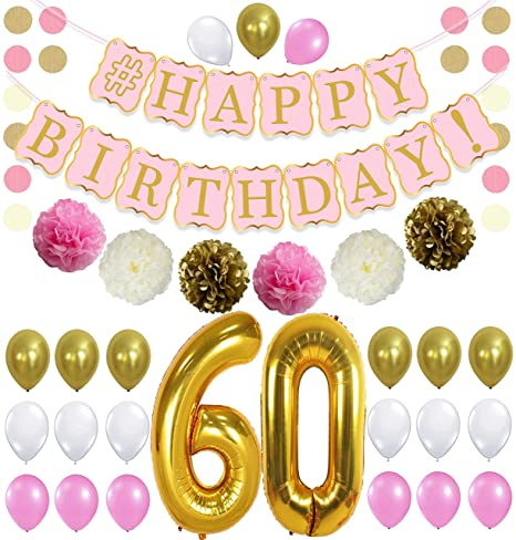 PINK 60th BIRTHDAY DECORATIONS PARTY KIT