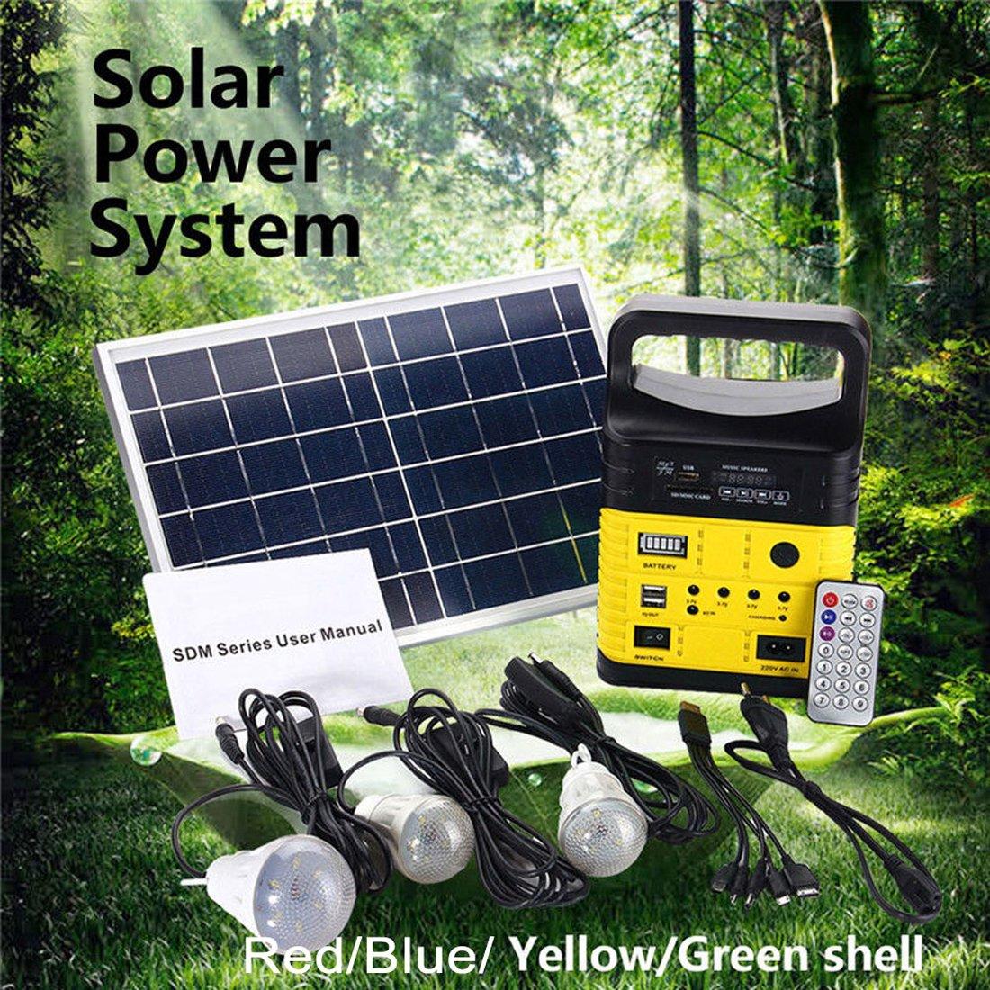 ポータブル電源 家庭用蓄電池 予備電源 持ち運び便利 車中泊 キャンプに 予備電源FM LEDライトUSB充電器 ソーラーチャージャー B07CK3LQW8 イエロー イエロー