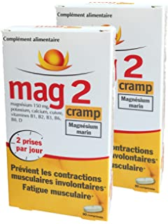 Mag 2 Cramp – Magnesio Marino – prévient los CONTRACTIONS musculaires involontaires, fatiga muscular –