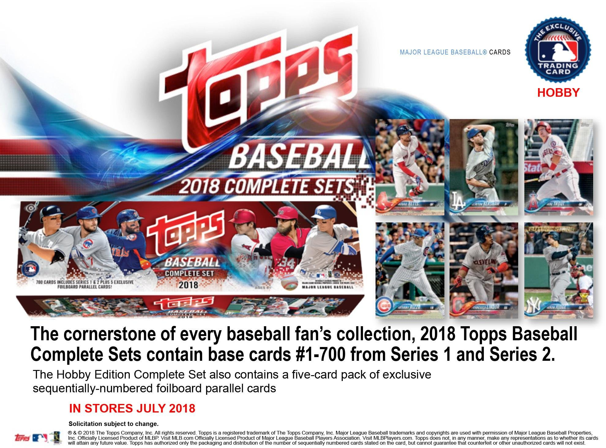 Topps 2018 Baseball Hobby Edition Complete 705 Card Factory Set Baseball Complete Sets
