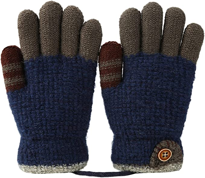 5 Colors Gloves Winter Warm Cotton Knitted Mittens Kids Gloves for Boys Girls