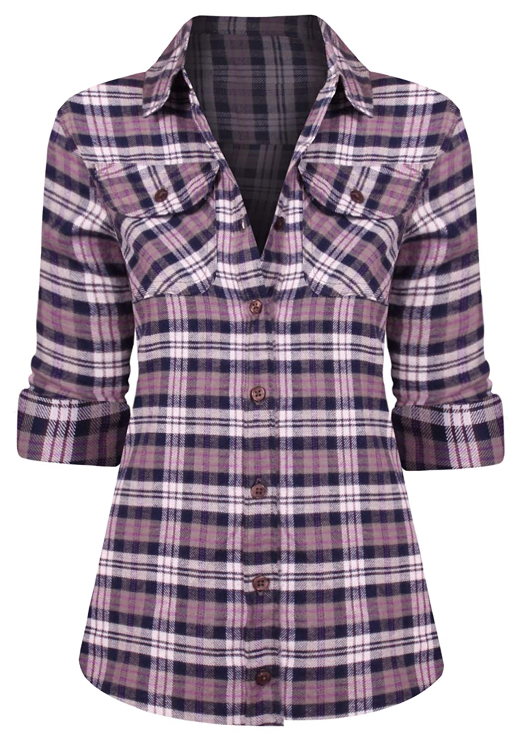 Hot From Hollywood Women's Long Sleeve Button Down Plaid Flannel Shirt EM-1000-TOP-EM-WMS