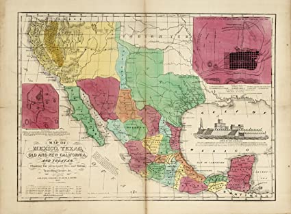 Amazon Com Map Poster Map Of Mexico Texas Old And New