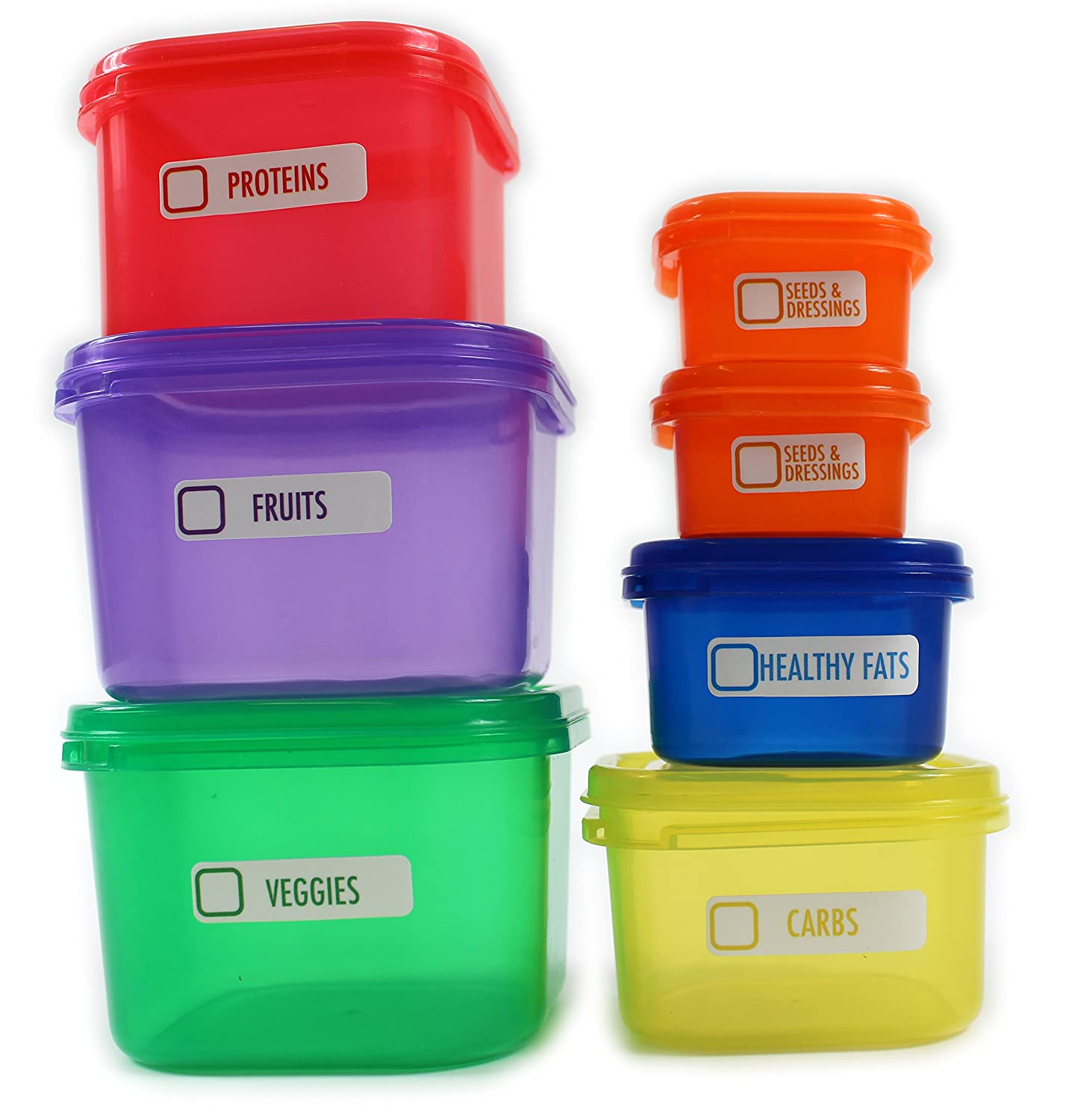 7 Piece Healthy Eating Portion Control Pots Marked Containers Weight Loss Aid (1) giftsbynet