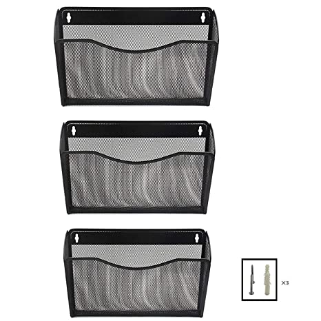 Mesh Wall Mounted Hanging File Tray Organizer   3 Compartment Pockets Magazine  Rack Letter Holder For