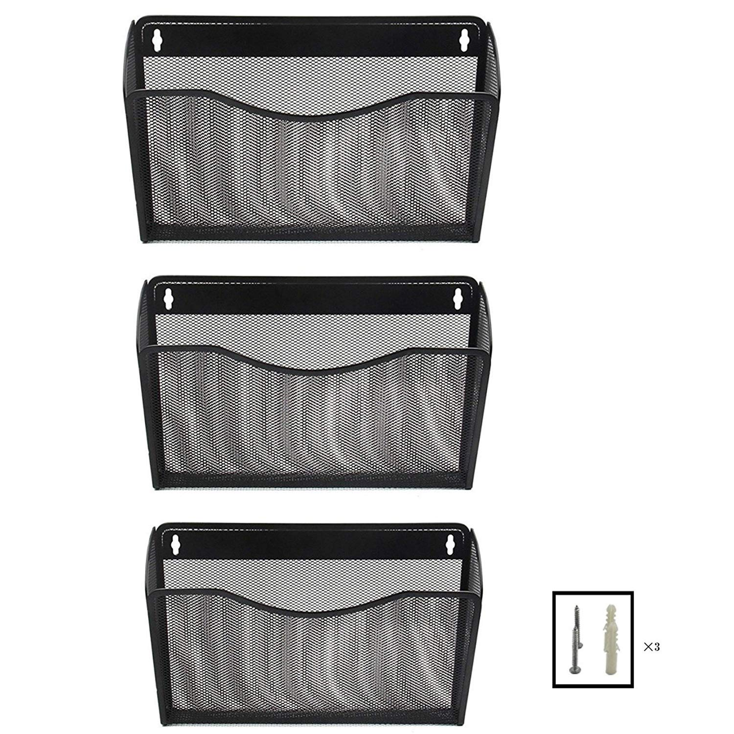 Mesh Wall Mounted Hanging File Tray Organizer - 3 Compartment Pockets Magazine Rack Letter Holder for Office Home Mailroom Sorter Rack - Black