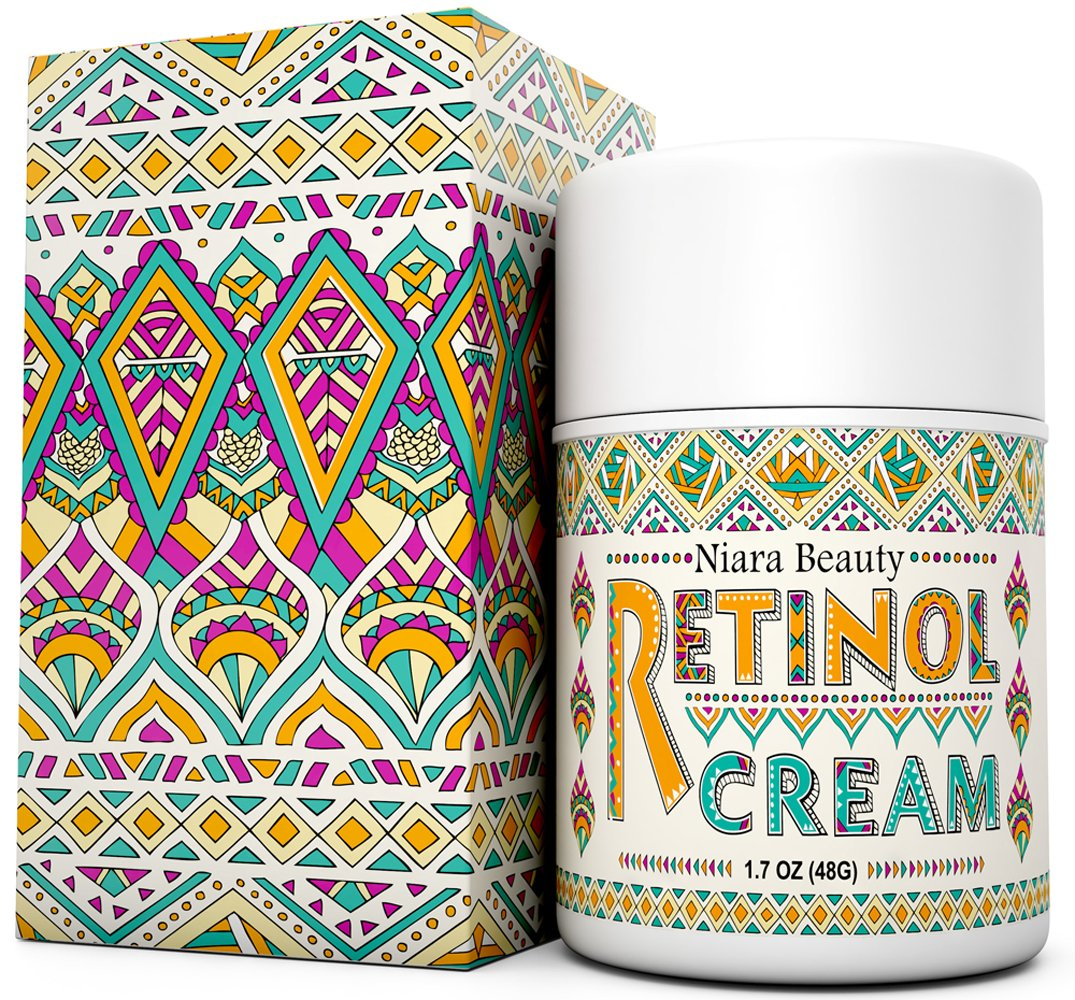 Retinol Cream Moisturizer for Face & Eyes - Anti Aging, Wrinkles, Fine Lines, Acne, Scars, Even Skin Tone - Best Natural & Organic Hyaluronic Acid, Green Tea, Vitamin E - Use Night & Day - 1.7 OZ Niara Beauty