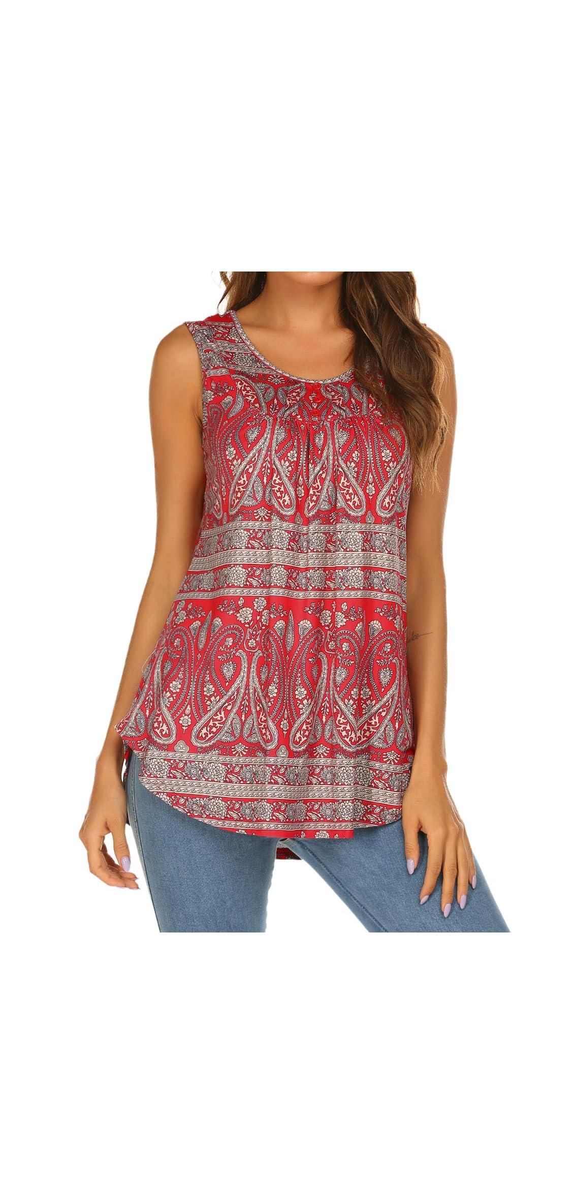 Women's Paisley Printed Pleated Sleeveless Blouse Shirt