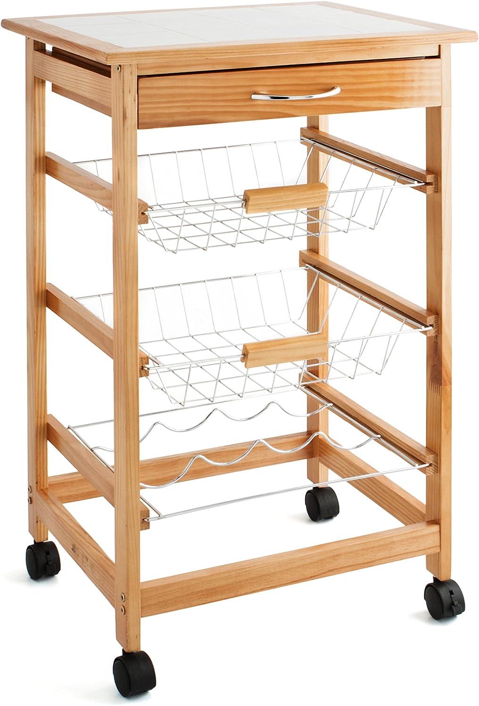 Quid Cart Verdulero con 2 cestas y bottelero, Madera, Marrón, 47x37x76 cm