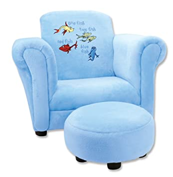 Trend Lab Dr. Seuss One Fish Two Fish Velour Club Chair And Ottoman Set,