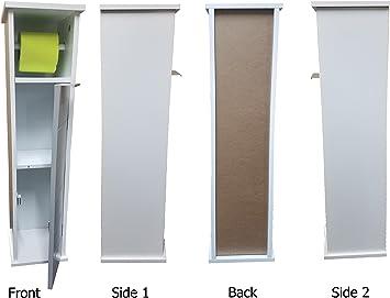 2 en 1 Mueble de almacenamiento para rollos de papel y un porta rollos - Color BLANCO y GRIS: Amazon.es: Hogar