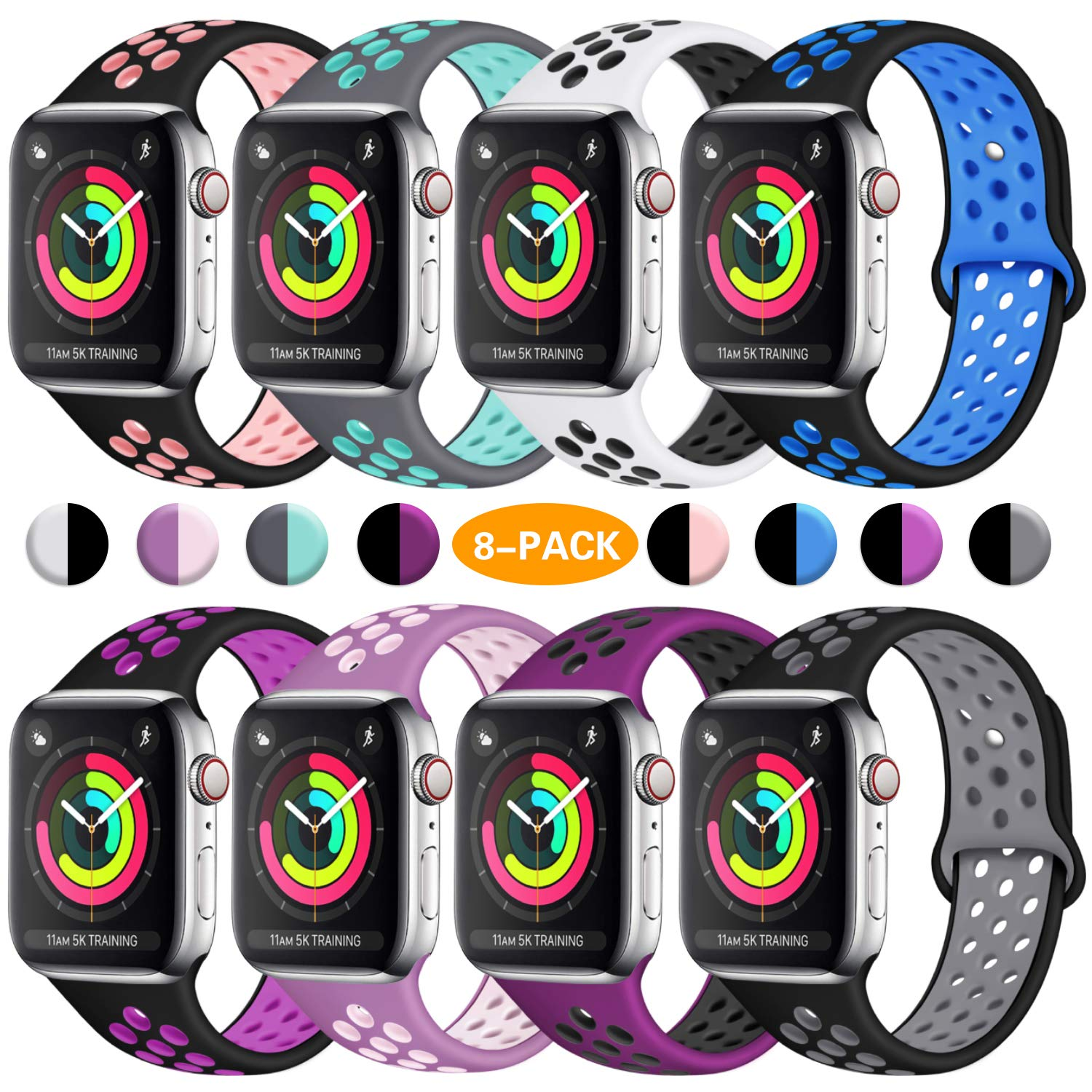 ilopee Bands for Apple Watch 38mm 40mm Series 5 4 3 2 1, Multi Colors, S/M by ilopee