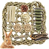 Rabbit Seagrass Mat Protector Bunny Chew Toys with Ball Teeth Grinding Cage Activity Play for Bunny Chinchilla Guinea Pigs Ha