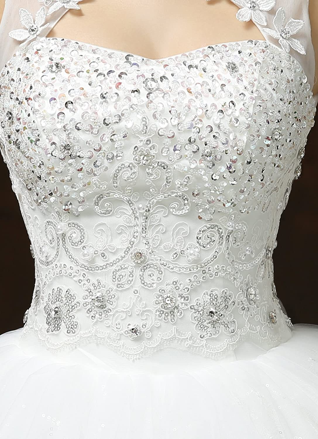 802730b98f4c Clover Bridal 2017 Vintage High Collar Pearl Sequined Wedding Dress for Bride  Ivory Under 100 at Amazon Women's Clothing store: