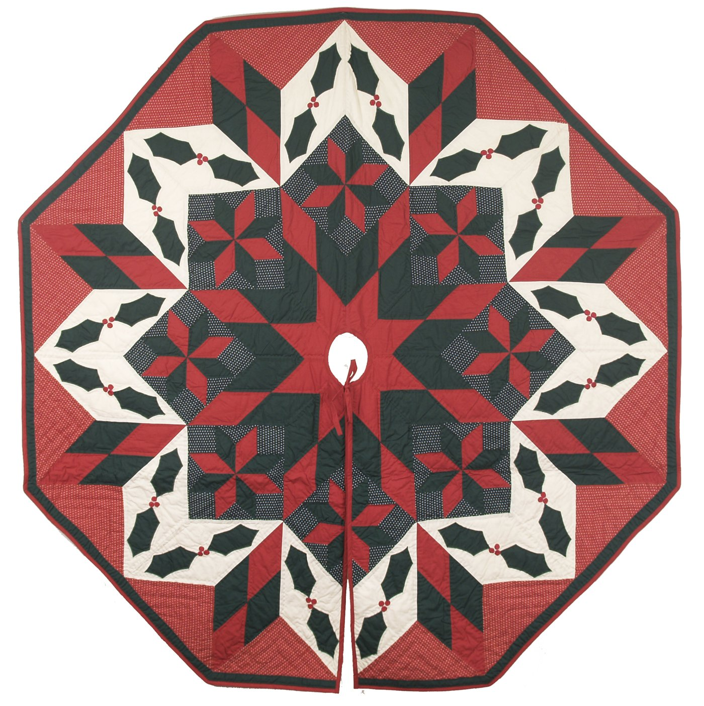 Twinkle Star/Holly Cranberry Red Off-white Quilted Christmas Tree Skirt 60'' End to End Octagone 100% Cotton Handmade Hand Quilted Heirloom Quality