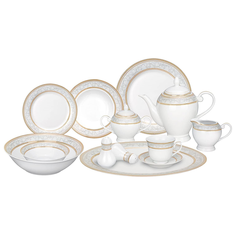 Lorren Home Trends 57-Piece Porcelain Dinnerware Set, Giada, Service for 8