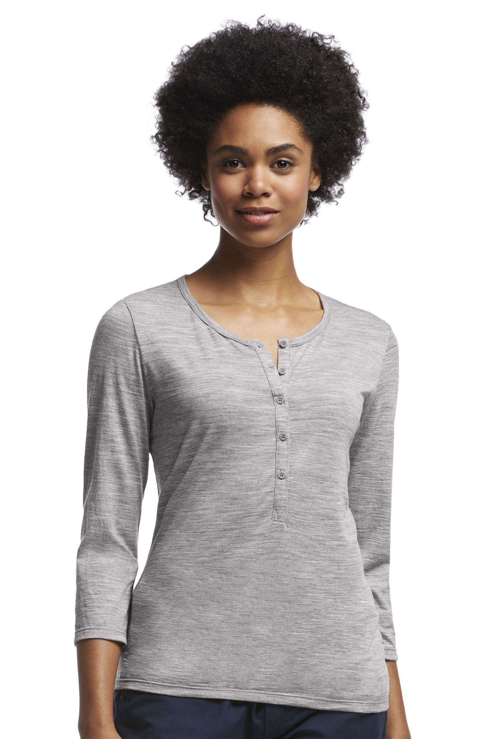 Icebreaker Merino Women's Tech Lite 3/4 Sleeve Henley T-Shirt, Metro Heather, X-Large by Icebreaker Merino