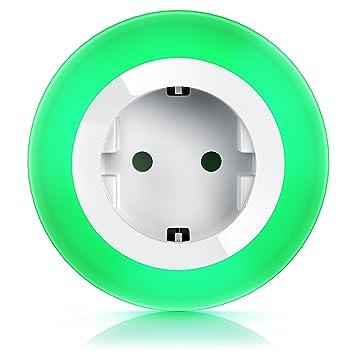 drei wählbare LED-Farben integrierter Helligkeits-//Dämmerungssensor Kindersicherung CSL-Computer CSL Nachtlicht mit Steckdose // Orientierungslicht // Nachtlampe Soft-Touch-Taste für Farbeinstellung