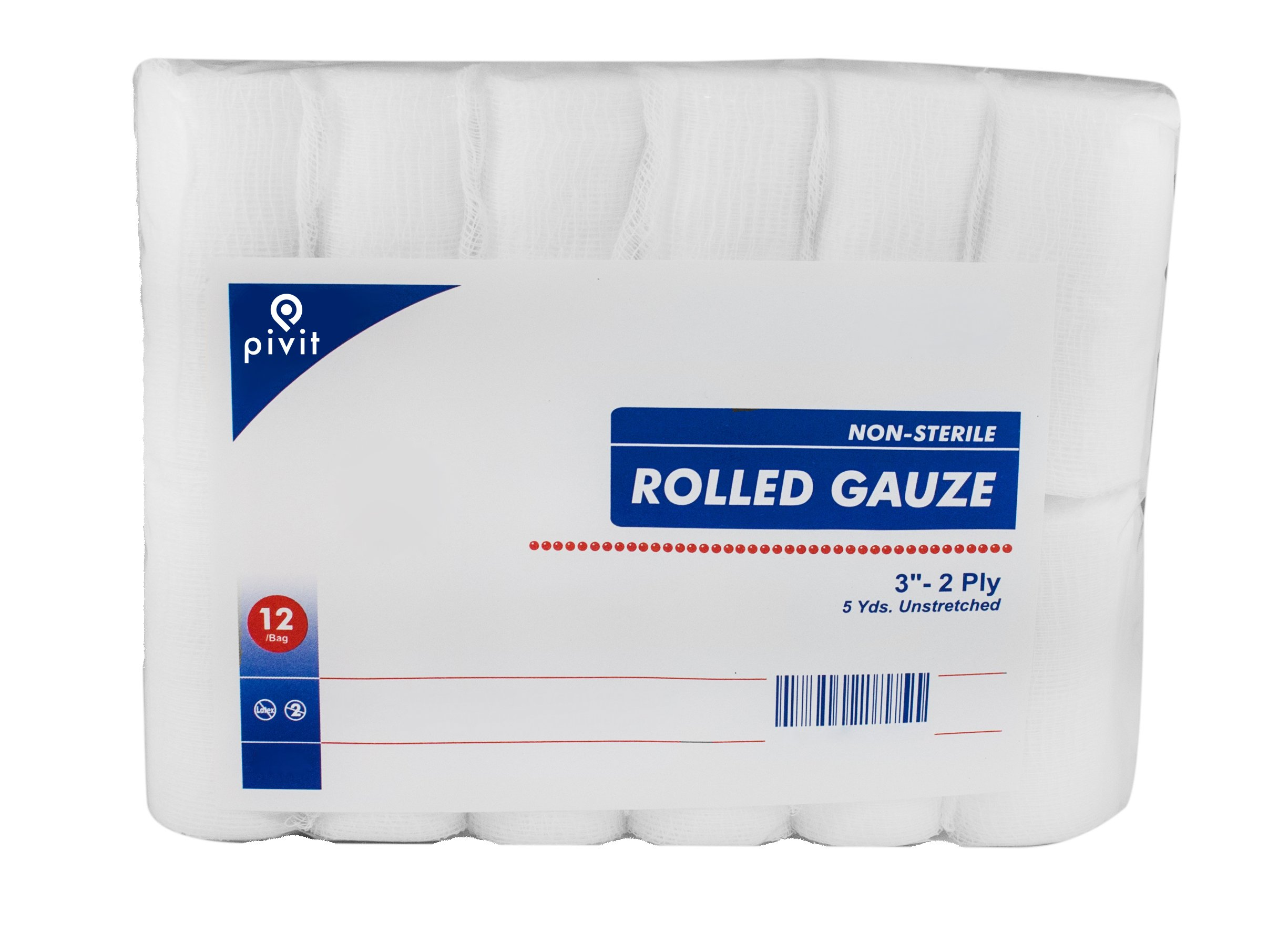 Pivit Non-Sterile Gauze Wrap Rolls | 3'' x 5 YDS 2-Ply | Pack of 12 | 100% Woven Cotton Bandages Just Stretch Wrap Cut | Fast-Wicking Absorbent and Breathable | Easily Conforms to Hands Ankles & Knees