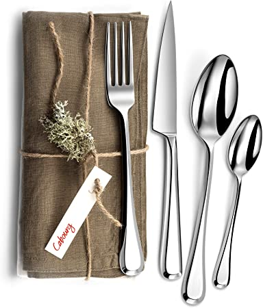 Laguiole Évolution® - Juego de cubiertos Cabourg de 16 piezas - Juego de cubiertos de acero inoxidable para 4 personas - Acabado pulido espejo - Apto para lavavajillas - Caja de regalo de presentación: Amazon.es: Hogar
