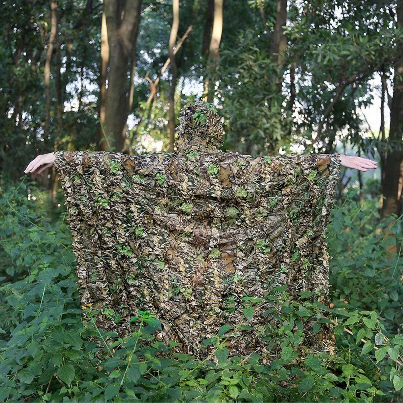 Jiobapiongxin 3D Leaves Camouflage Poncho Cloak Stealth Tute Outdoor Woodland CS Abbigliamento