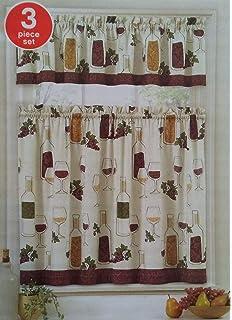 Amazon.com: Wine Tasting Kitchen Curtains Tier & Valance Set ...