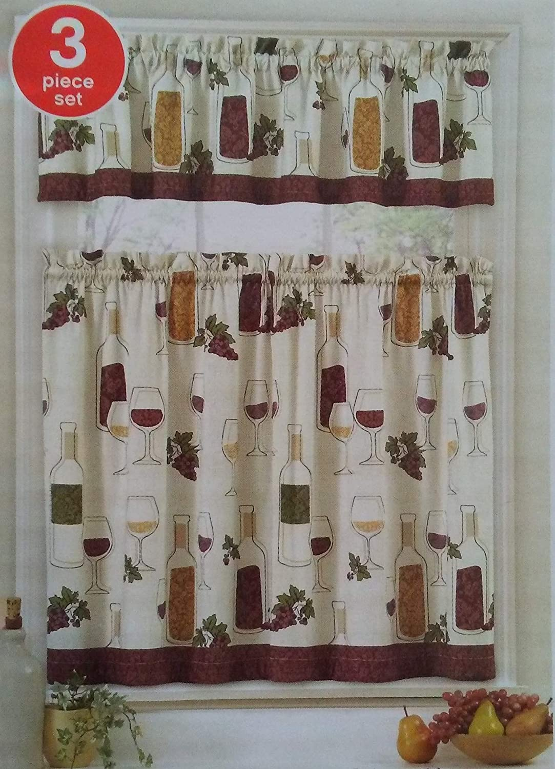 Wine Design Curtains 3-pc Tiers & Valance Kitchen Tuscan Decor Grapes Bottle