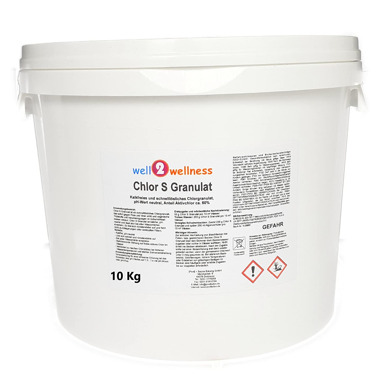 well2wellness Chlor S Granulat - schnell lösliches Chlorgranulat mit über 60% Aktivchlor, 10 kg [Pool] + Sauna Bräunig GmbH