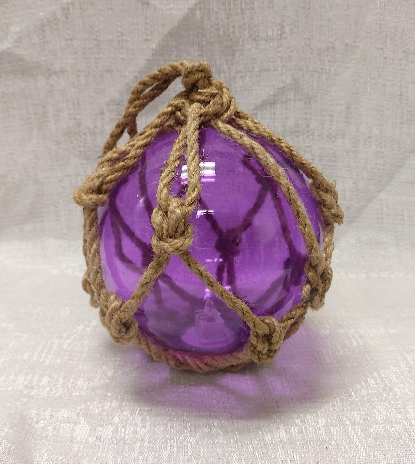 DRH Violet Japanese Fishing Glass Buoy - Glass Float Ball with LED Light - Bright Nautical Decor with Roped Net - Perfect Hanging Nautical Glass Buoy Gift for Art Lovers - 5 inches