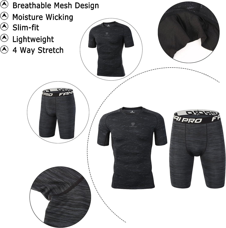 Barrageon T-Shirt et Shorts de Compression Manches Courtes /Élastique Set pour Homme Legging Base Layer S/échage Rapide pour Exercice Fitness Gym Cross Training Running Jogging Noir